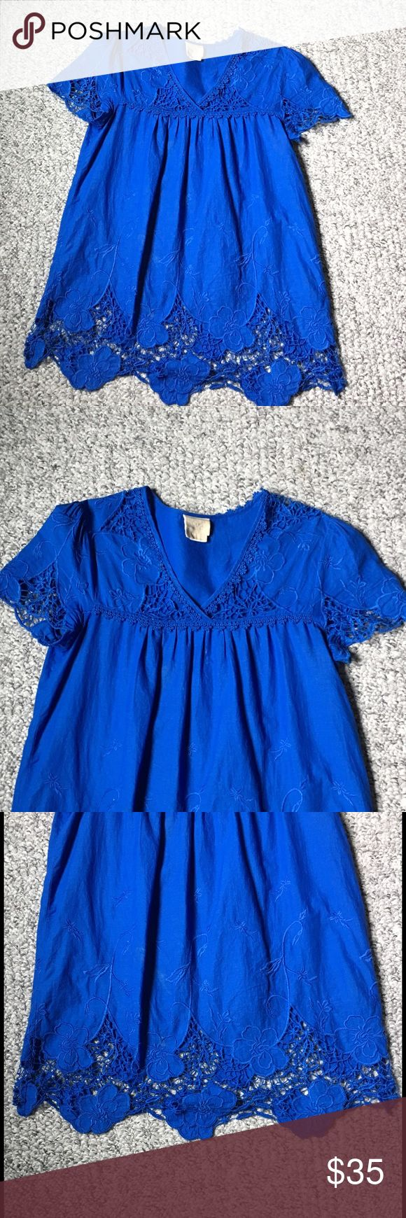 Vanessa Virginia crochet and embroidered top Beautifully detailed top with crochet and embroidered details. Stubby royal blue color. Would look great with white jeans. Good condition. Anthropologie Tops