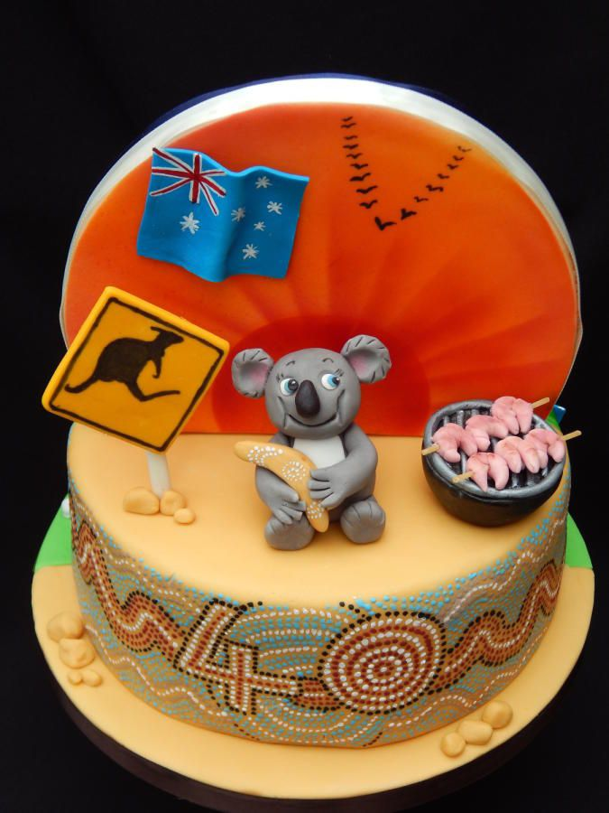 I decided the best way to cover all the themes wanted on this cake was to make it a double sided one. The chap had lived in Australia and England and is a sports fan. The Australia side has a hand painted edge in the style of Aboriginal dot...