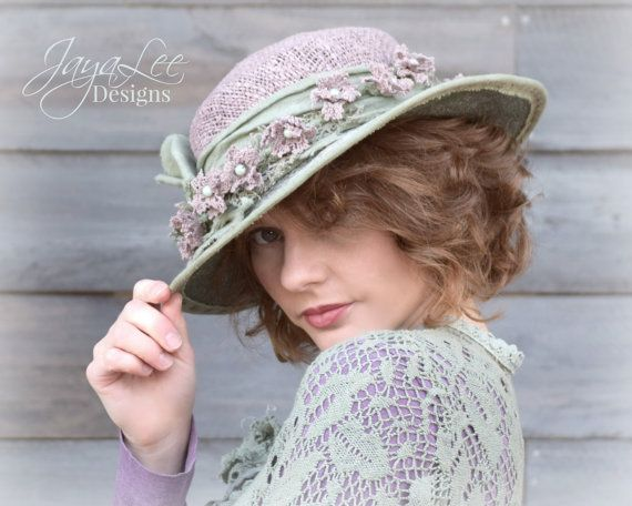 Lilac Wide Brim Straw Tea Hat -  by Jaya Lee   Edwardian Era (1900-1919). T