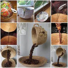 Ateliê Maçã com Cravo: Xícaras suspensas com grão de café e com flores