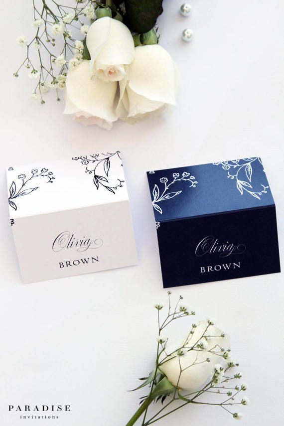 Badelia Place Cards, Navy or White Place Cards, Printable Files or Printed Cards, Custom Made Colours and Sizes