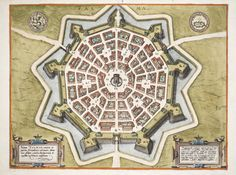 This map of Palma (Italy) was drawn in 1593 by Joris Hoefnagel (1542-1600), a Flemish painter, printer, illuminator and naturalist. Known for his very early topographical drawings and landscape paintings, some scholars consider him an influence for the later Flemish realist school of art. This map is plate 68 from a German edition of Braun & Hogenberg's Civitas Orbis Terrarum, Book V [1600?]. It's one of the almost 400 maps in Toronto Public Library's Digital archive (tpl.ca/digital-archive)