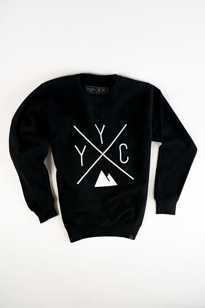 YYC Calgary Crewneck Sweatshirt in BLACK from Local Laundry, available at Labrador Supply Co. Also comes in navy blue, grey and maroon!