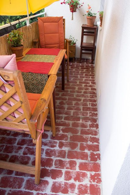 Fußboden mit Ziegelstein Optik - Faux Brick Floor - Farbe statt Fußbodenbelag im Außenbereich - günstig, einfach, schnell - diy - selbermachen - Umgestaltung Balkon, Terrasse, Outdoorbereich