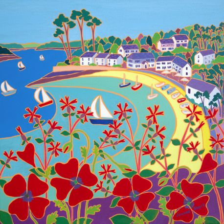 Rich dynamic blocks of colour define this striking Joanne Short oil painting of the Helford Passage on the south coast of Cornwall. Deeply coloured red poppies and wild campion fill the foreground and dynamic arcs of colour sweep onto the beach. Sailing boats and dingies create a wonderful narrative in this beautiful painting from this acclaimed artist.