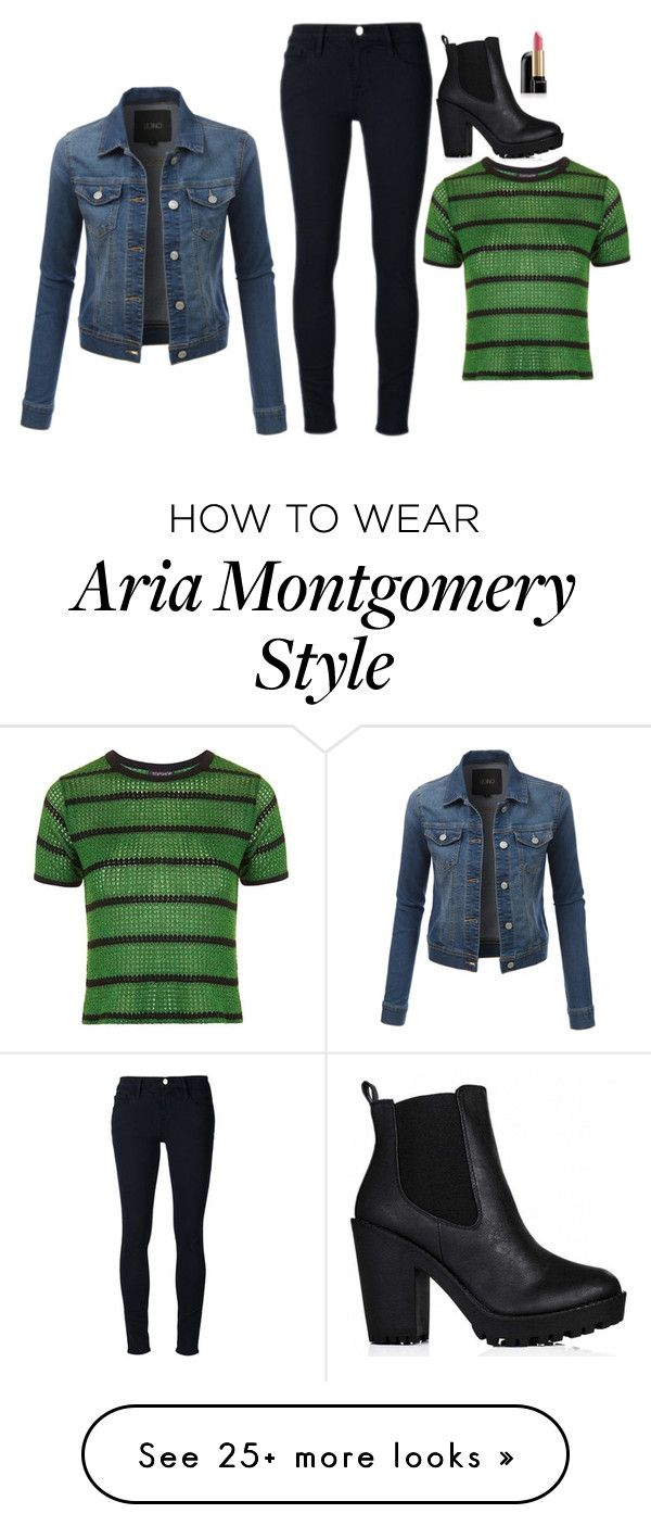 """Aria Montgomery Inspired Outfit"" by daniellakresovic on Polyvore featuring LE3NO, Topshop, Frame Denim and Lancôme"