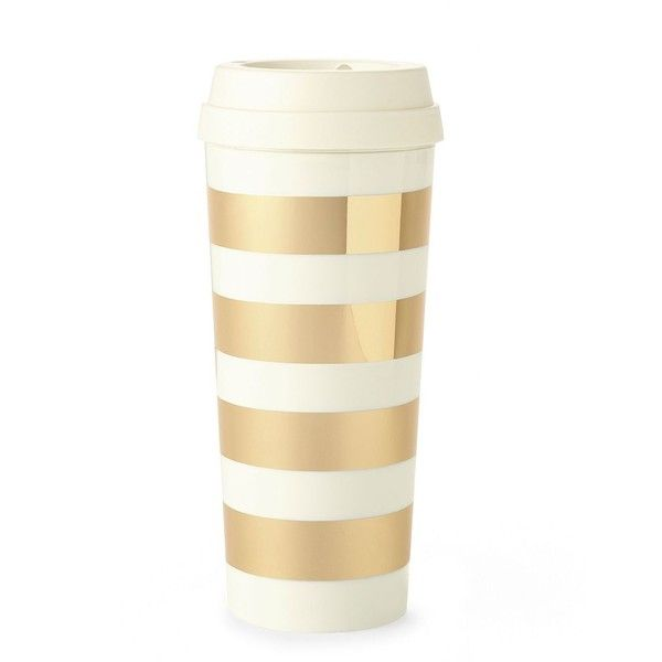 Kate Spade Gold Stripe Thermal Mug found on Polyvore featuring home, kitchen & dining, drinkware, thermo mug, thermal mug, kate spade and hot tea mug