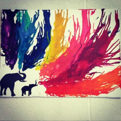 crayon art elephant