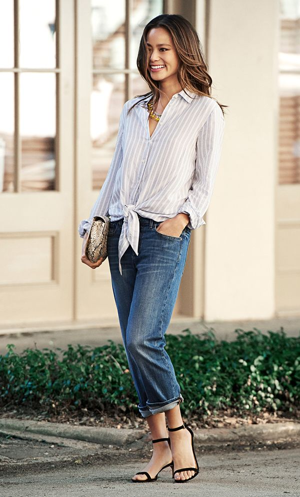 Give your look a street chic feel by pairing our cuffed boyfriend jeans with a loose fit front tie button down shirt | Banana Republic