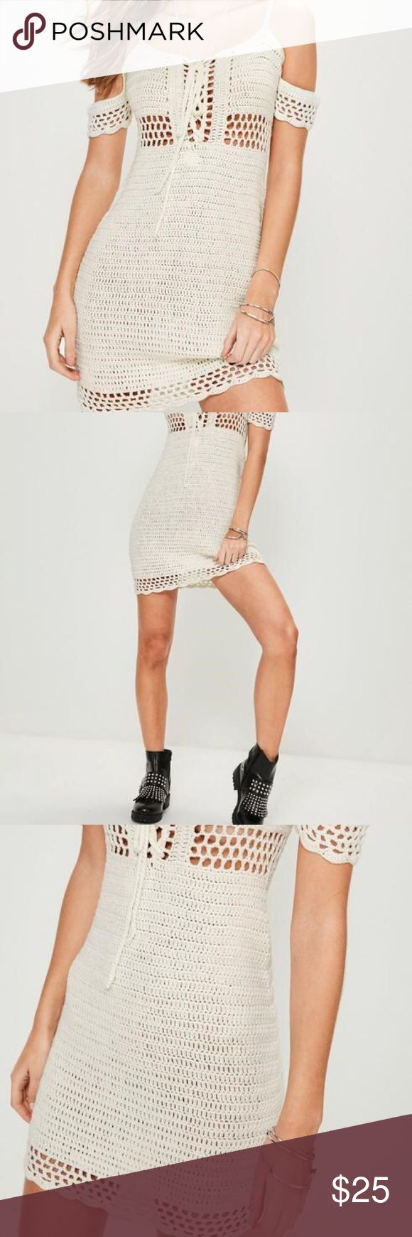Missguided Cream Supported Bardot Crochet Dress Cream Supported Bardot Crochet Dress .  featuring a crochet fabric, cream hue and bardot style top. It's the perfect festival piece or for a day at the beach. Worn once on vacation, hand washed and clean. No flaws. Missguided Dresses Mini