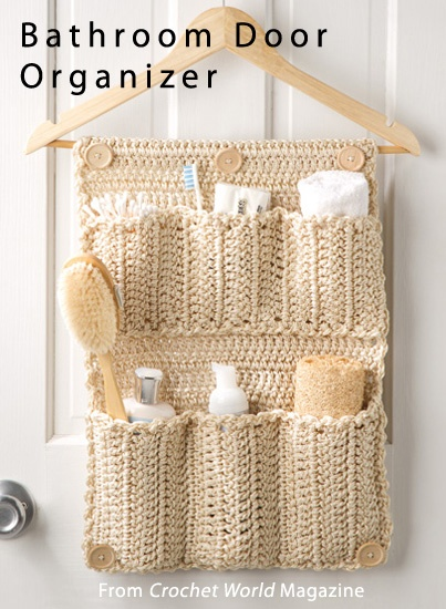Bathroom Door Organizer from the August 2013 issue of Crochet World Magazine. Order a digital copy here: http://www.anniescatalog.com/detail.html?prod_id=101985