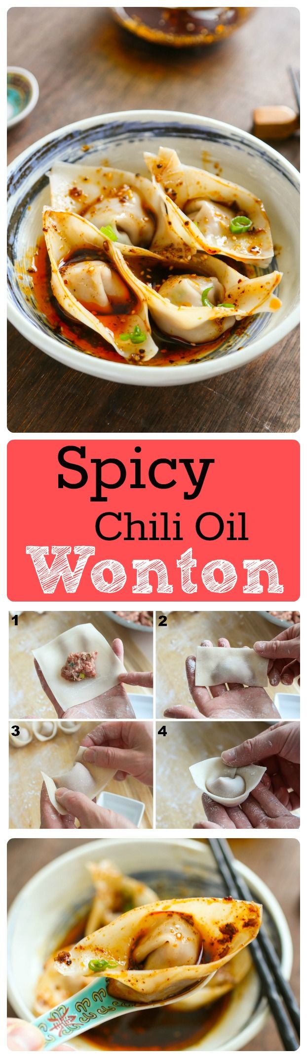Sichuan Style Wontons in Spicy Chili Oil recipe 紅油抄手