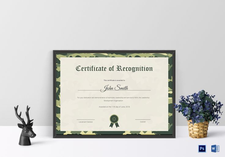 Air Cadet Recognition Certificate Template  $9.99  Formats Included : MS Word, Photoshop  File Size : 11.69x8.26 Inchs #Certificates #Certificatedesigns #Professionalcertificates