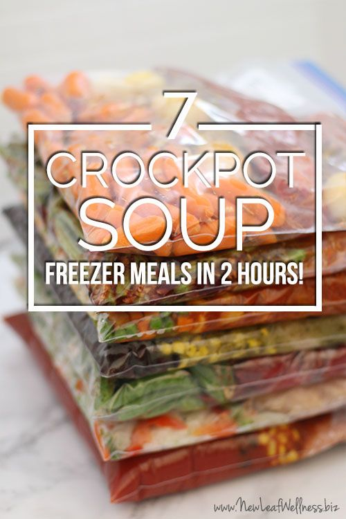 Kelly from New Leaf Wellness has a great list of 7 crockpot freezer soups you can make in two hours. Her free download includes grocery lists and recipes for all of the meals.
