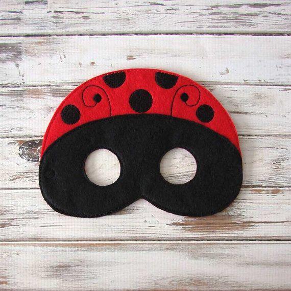 Máscara mariquita - Fieltro - Máscara Niños - vestir - traje de Halloween - Juegos de imaginación