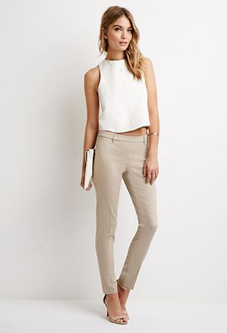 Classic Crease-Front Trousers | Forever 21 - 2000100371   size 2 $20 navy or khaki