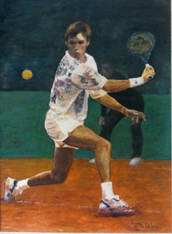 Acuarela/Water Color, original, por J.M.D. Año 1994. Michael Stich (ALE). Michael Stich (Pinneberg, 18 de octubre de 1968) es un ex-jugador de tenis alemán.  Uno de los momentos de mayor éxito en su carrera se dio en 1991, en el torneo de Wimbledon, cuando derrotó en tres sets a su compatriota Boris Becker. Stich también alcanzó las finales del US Open, donde cayó frente a Andre Agassi, y del Torneo de Roland Garros, donde fue derrotado por Yevgeni Káfelnikov.....(Wikipedia)