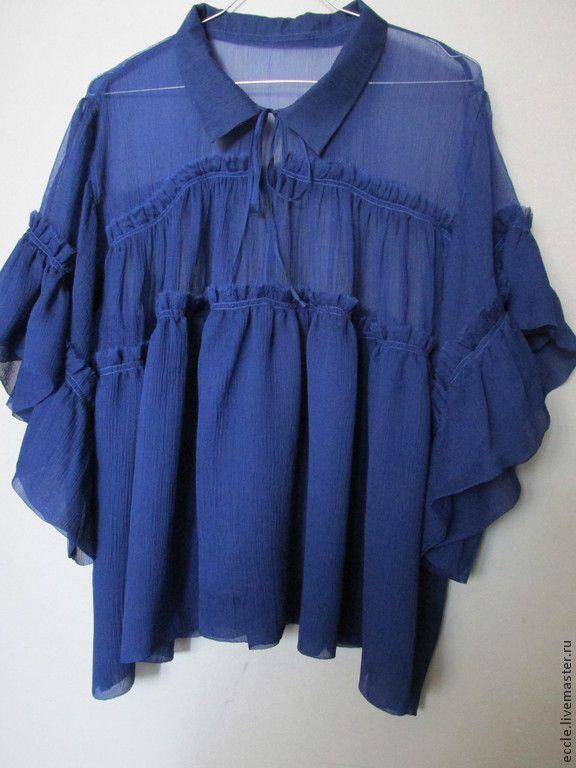 Блузки ручной работы. Ярмарка Мастеров - ручная работа блузка из шифона Blue. Handmade.