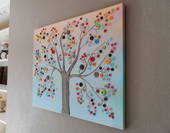 Lag et fantastisk tre på lerret med knapper og lim!