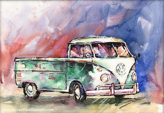 """A Single Cab in Repose"" - Vintage VW Single Cab Watercolor Art Print by Michael David Sorensen  www.MichaelDavidSorensen.com"