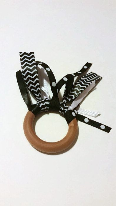 Wooden Teething Tickler Ring Monochrome black white natural organic baby sensory play ribbon toy learning Montessori Waldorf activity--baby by ClassyandCluttered on Etsy