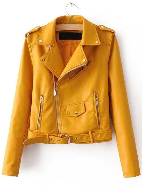 Faux Leather Buckle Belt Epaulet Detail Moto Jacket