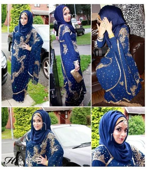 hijab with a sari...GORGEOUS