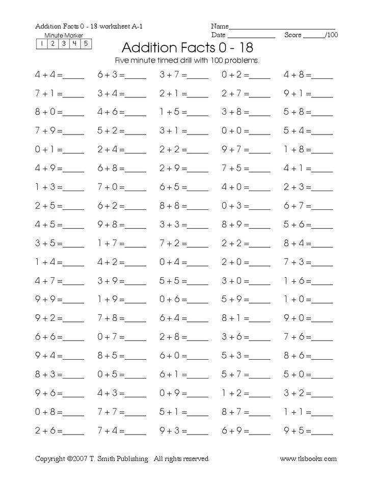 Timed Math Drill Sheets Five Minute Addition 0 18
