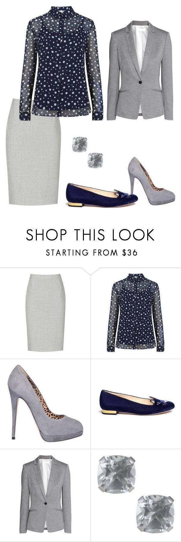 """bodkovane"" by anjelik2127 on Polyvore featuring Reiss, Lerre, Charlotte Olympia, H&M, Jewel Exclusive, women's clothing, women's fashion, women, female and woman"