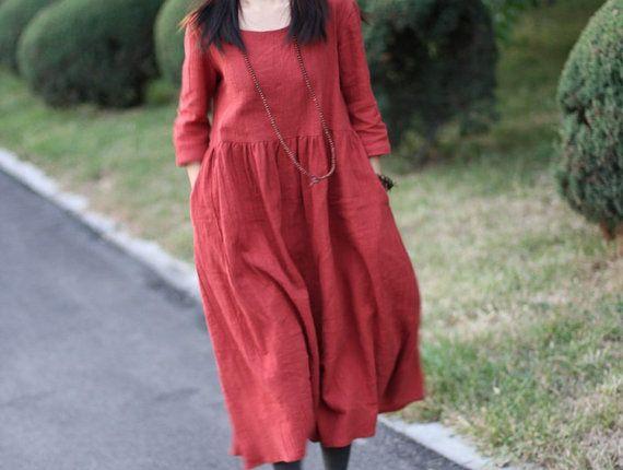 dark red fashion RAGLAN  plus size clothing long linen by Aolo, $96.00