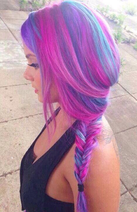 Purple and blue braid so cute