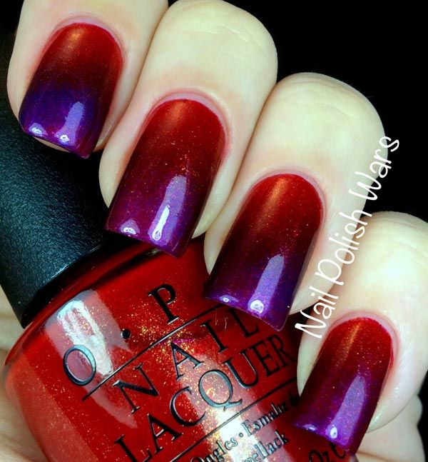 Red purple gradient nails. Sweet for the fall.