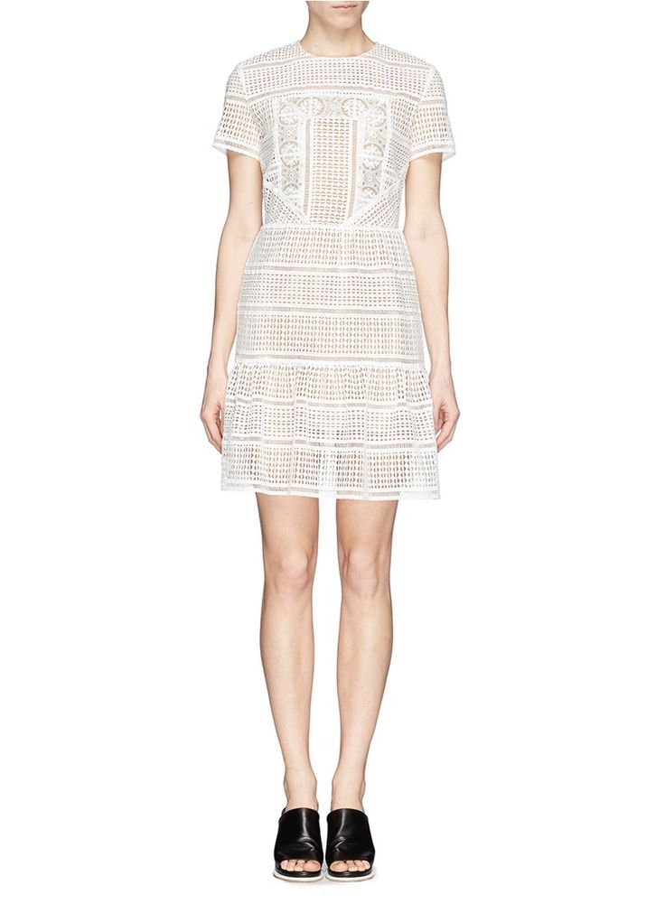 SELF PORTRAIT Sequin broderie anglaise patchwork dress