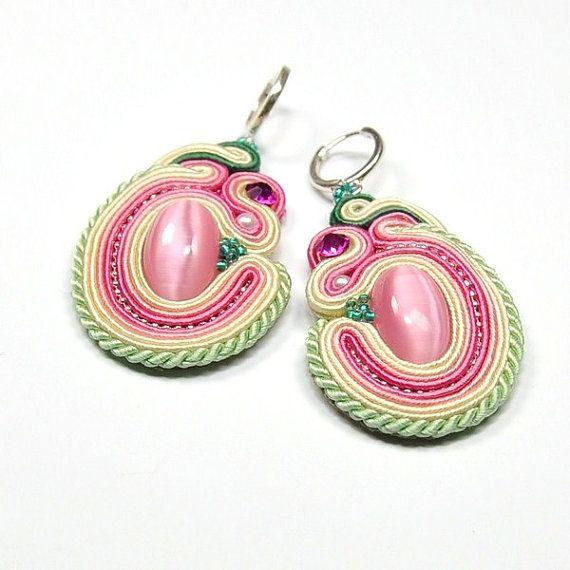 Soutache Earrings Hand Embroidered Soutache by ArtStyleBizu, $69.00