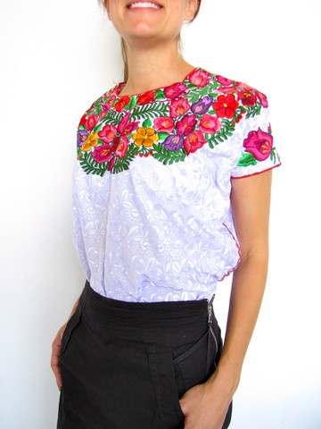 Nachig blouse hand embroidered from Chiapas, Mexico