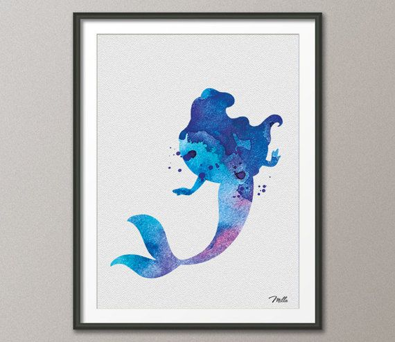 Mermaid Gifts Mermaid Decor Mermaid Art Print Mother S: The Little Mermaid Ariel Watercolor Illustrations Art