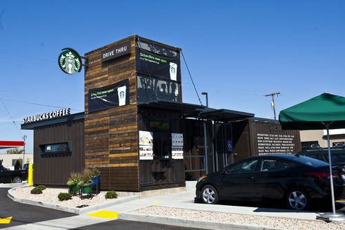 Chris Detrick  |  The Salt Lake Tribune Starbucks drive-through made from recycled shipping containers at 3300 South West Temple in Salt Lake City Wednesday September 4, 2013.