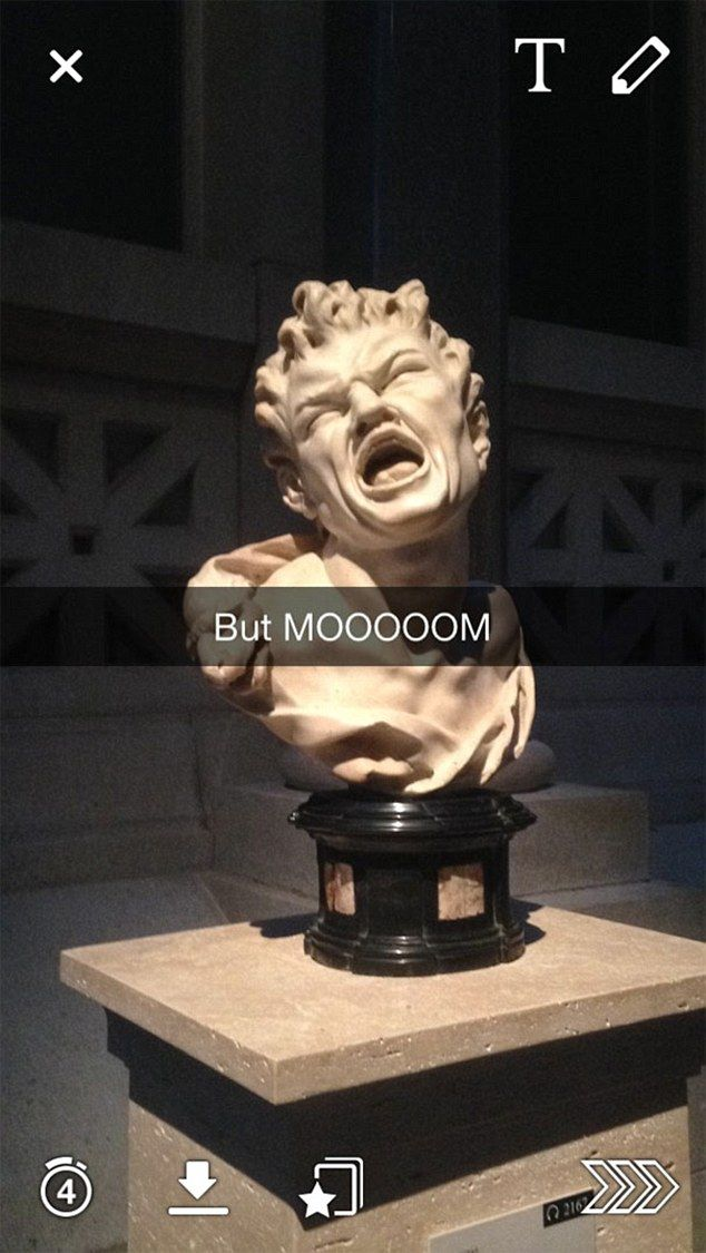 This witty Snapchatter captioned this moody-looking statue with the words 'But MOOOOOM'...