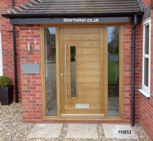 contemporary oak door with sidelights