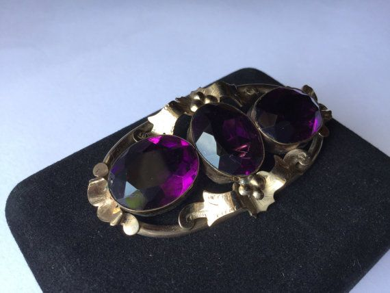 Victorian amethist brooche antique Victorian Amethyst by Quieora