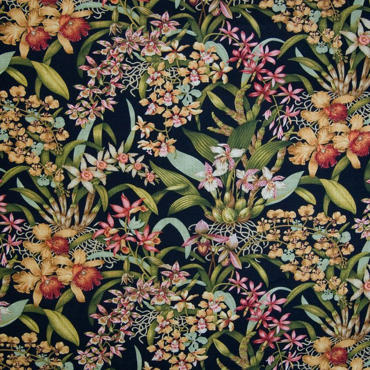 "The G2626 Black upholstery fabric by KOVI Fabrics features Floral, Tropical pattern and Black as its colors. It is a Print, Linen type of upholstery fabric and it is made of 55% Linen, 45% Viscose Repeat: 27"" H Half Drop, 24"" V material. It is rated Exceeds 12,500 double rubs (heavy duty) which makes this upholstery fabric ideal for residential, commercial and hospitality upholstery projects.For help please call 800-860-3105."