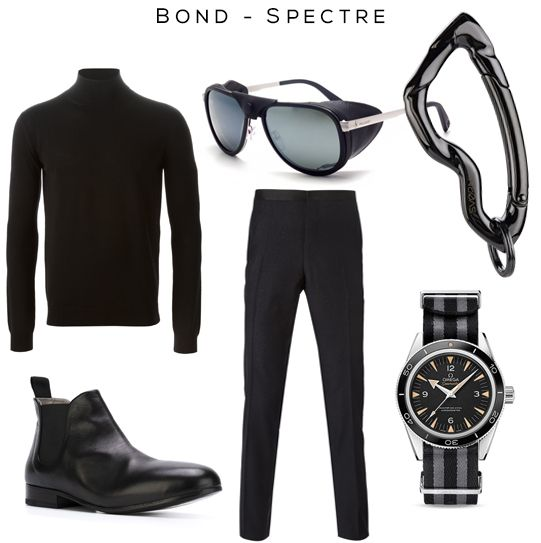 Bond - Spectre Fashion Set Clockwise: Sweater by Saint Laurent, Sunglasses by Vuarnet, Arcus Carabiner keychain by @svorndesign, Watch by Omega, Pants by Lanvin,   Chelsea boots by Marsèll #jamesbond #menstyle #blackstyle #bond #black #acccessories #mensfashion