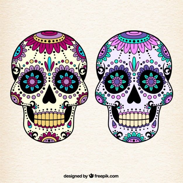 Cráneos mexicanos coloridos Vector Gratis
