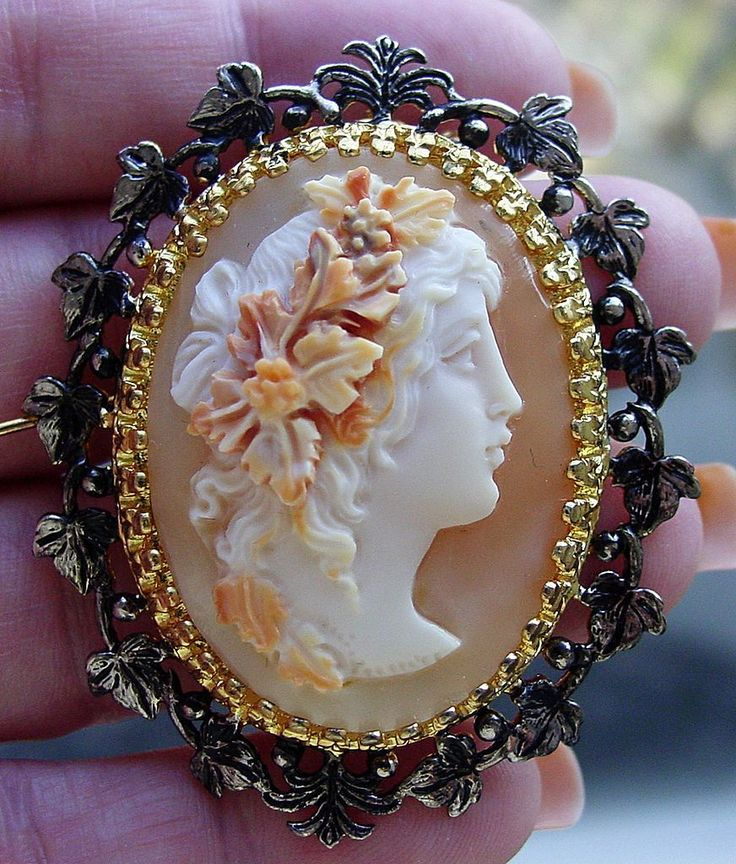 Bacchante Italian Shell Cameo Signed By Master Carver