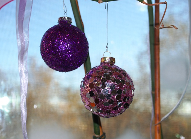 DIY glitter ornaments. Brush with watered down white glue