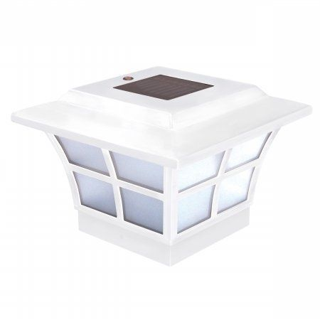 """4""""X4"""" Solar Prestige White Post Cap by Classy Caps. $37.56. Will fit over an actual 4x4 PVC or nominal 44 wood post ( includes 3.5x 3.5 adapter). High Performance solar lights_stays lit for up to 12 hours. Lights up automatically every night_auto_off switch. 2 Long life AA NiCad rechargable batteries included. 2 High output LED's for brilliant white light. You can see clearly now with the Classy Caps 4 x 4 in. PVC Prestige Solar Post Cap, in traditional white finish. S..."""