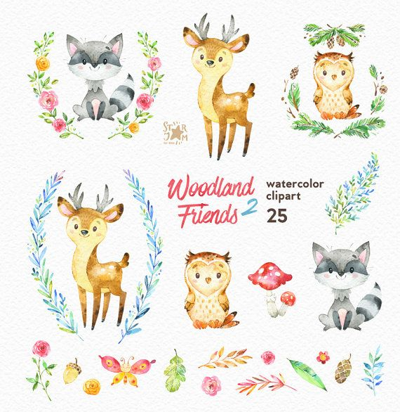 This Forest animals clipart set is just what you needed for the perfect invitations, craft projects, paper products, party decorations, printable,