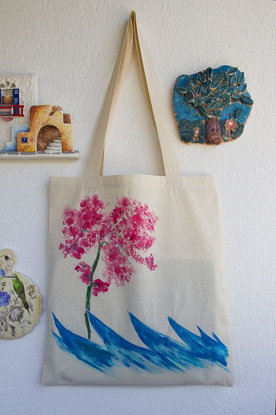 HAND PAINTED Cotton Tote Bag / Shopping bag / Cotton Bag hand painted on bag,our design. its unique for you.  painted bougainvillea and waves