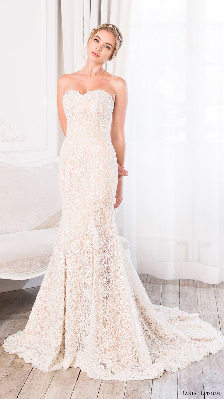rania hatoum bridal spring 2017 strapless sweetheart sheath lace wedding dress (eiffel) mv train