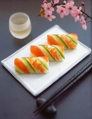 salmon, shrimp and cucumber rolls